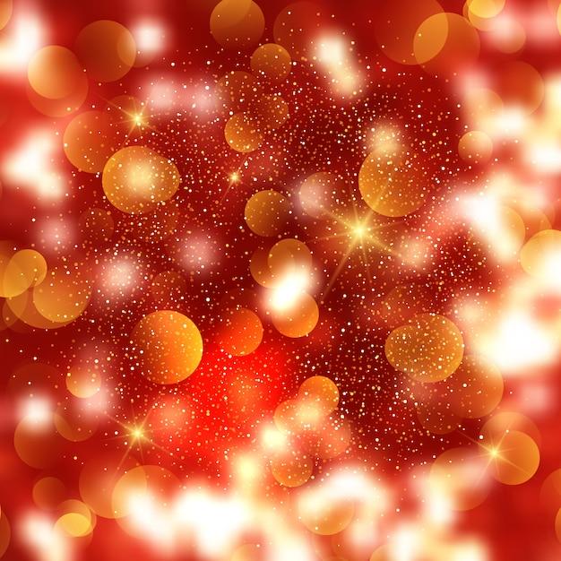 Sfondo di natale di luci e stelle bokeh Vettore gratuito