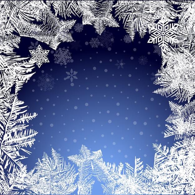 Sfondo di natale ghiacciato. neve e ghiaccioli Vettore Premium