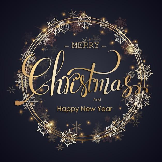 Sfondo di natale. handdraw lettering merry christmas illustration. Vettore Premium