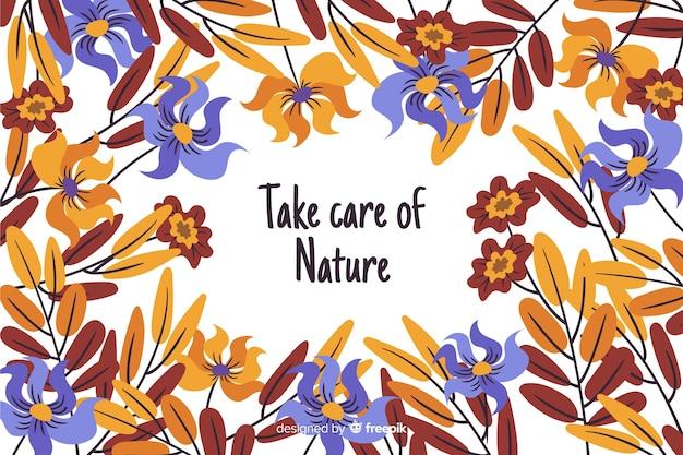 Sfondo di natura disegnata a mano con citazione Vettore gratuito