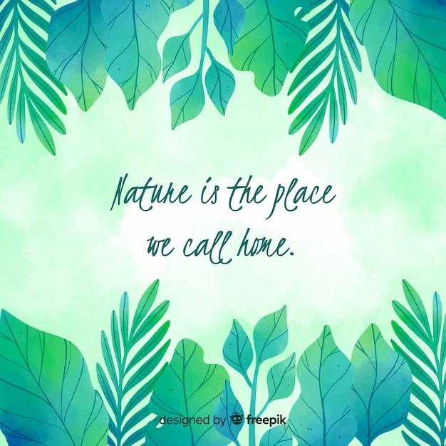 Sfondo di natura floreale con citazione Vettore gratuito