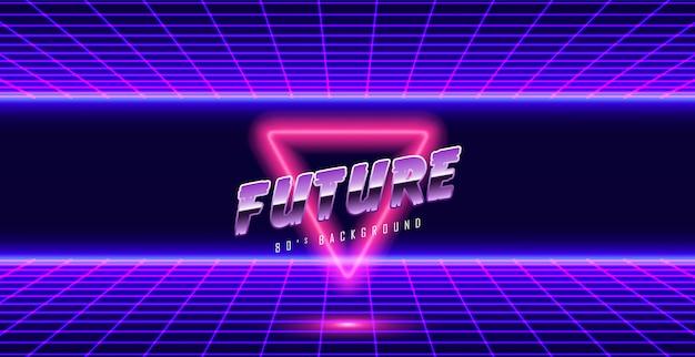 Sfondo di neon 3d paesaggio stile anni '80 Vettore Premium
