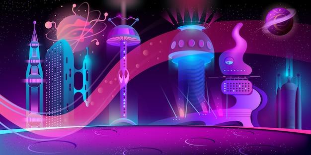 Sfondo di notte con città futuristica aliena Vettore gratuito