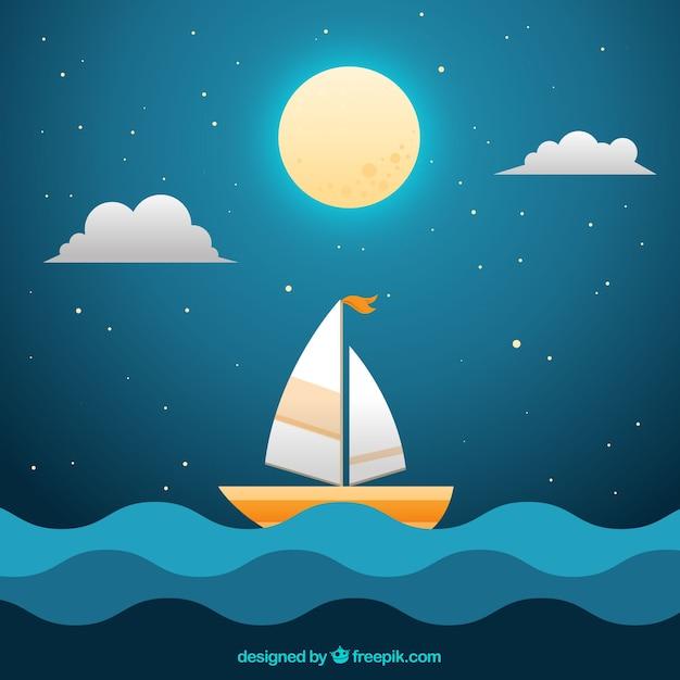 Sfondo Di Notte Con La Luna Piena E La Barca In Mare Scaricare