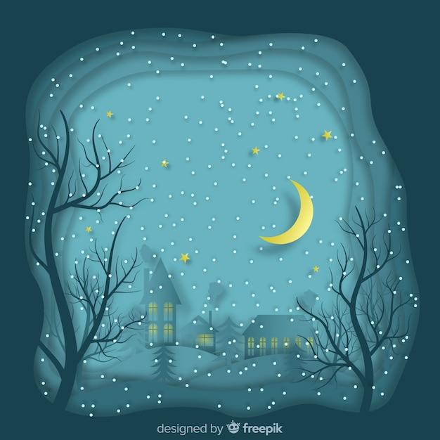 Sfondo di notte invernale oltrepassato Vettore gratuito