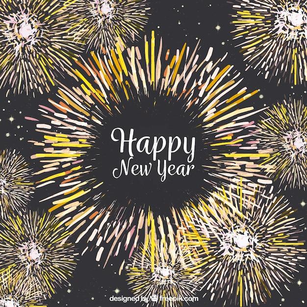 Sfondo di nuovo anno con fuochi d'artificio di acquerello Vettore gratuito