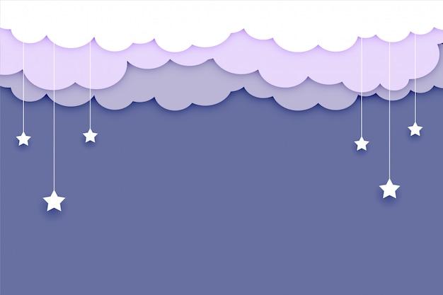 Sfondo di nuvole con stelle e testo soace Vettore gratuito