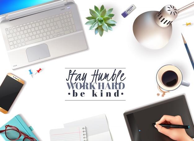 Sfondo di oggetti 3d office Vettore gratuito