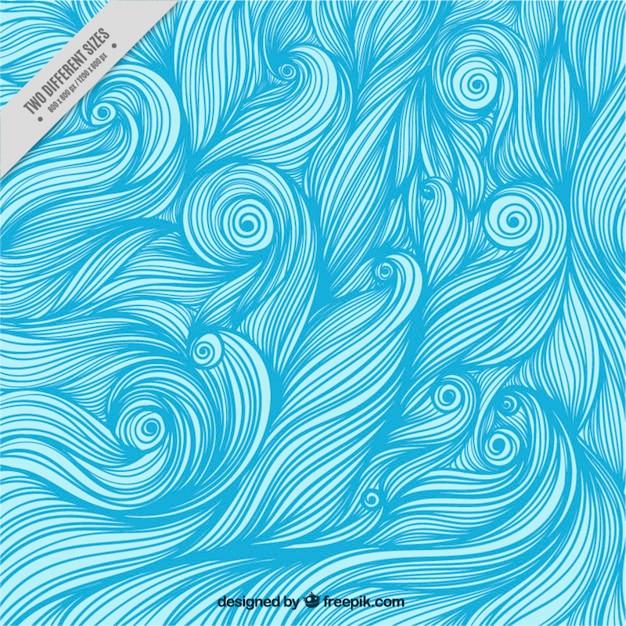 Sfondo di onde blu disegnate a mano Vettore gratuito
