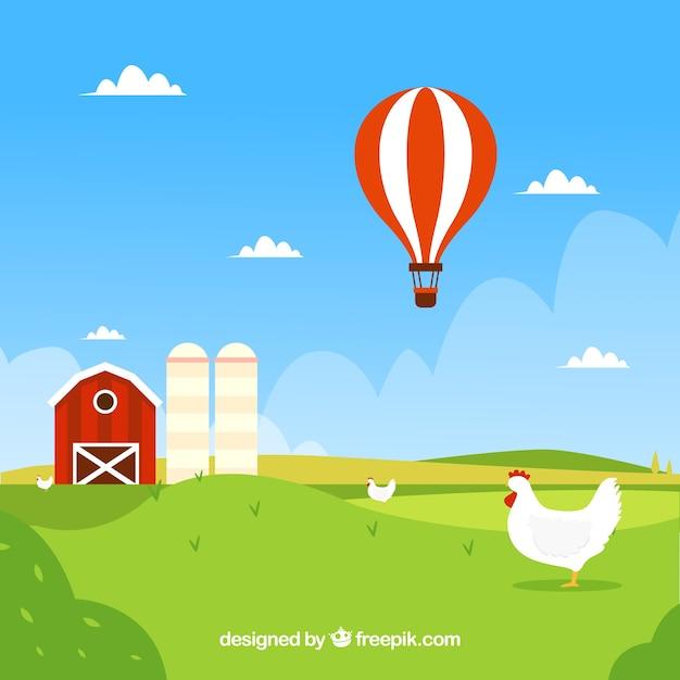 Sfondo di paesaggio agricolo con contadino e mongolfiera Vettore gratuito