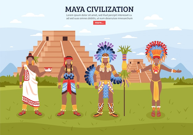 Sfondo di paesaggio della civiltà maya Vettore gratuito