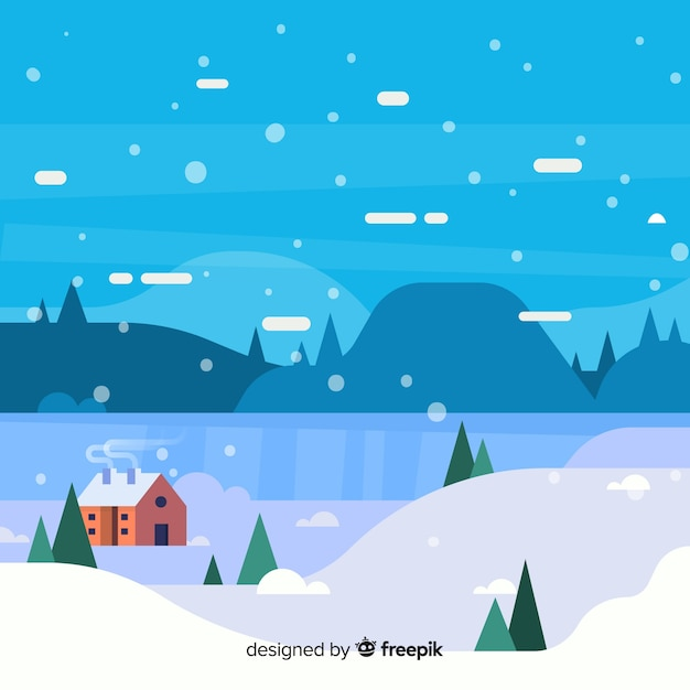 Sfondo di paesaggio invernale piatta Vettore gratuito