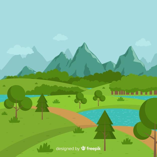 Sfondo di paesaggio naturale design piatto Vettore gratuito