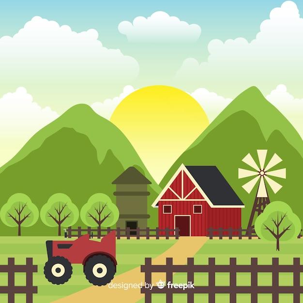 Sfondo di paesaggio piatto fattoria soleggiata Vettore gratuito