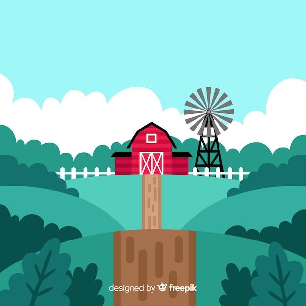 Sfondo di paesaggio piatto fattoria Vettore gratuito