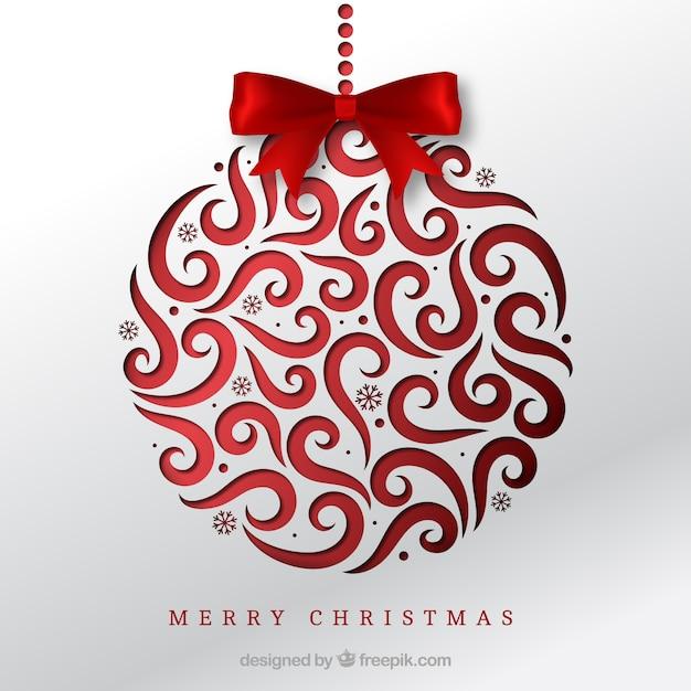 Sfondo di palla di Natale con fiocco rosso Vettore gratuito