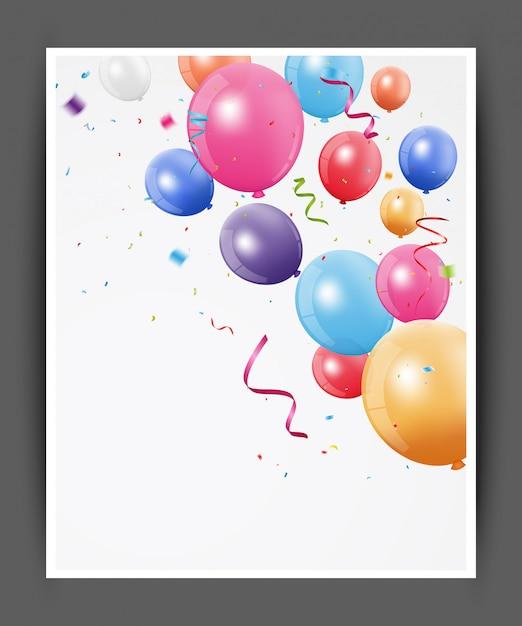 sfondo di palloncini colorati per biglietto di auguri di