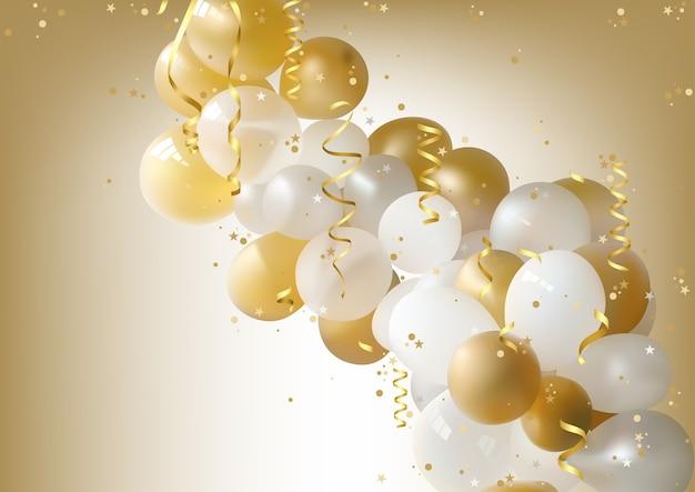 Sfondo Di Palloncini Festa Bianco E Oro Scaricare Vettori Premium
