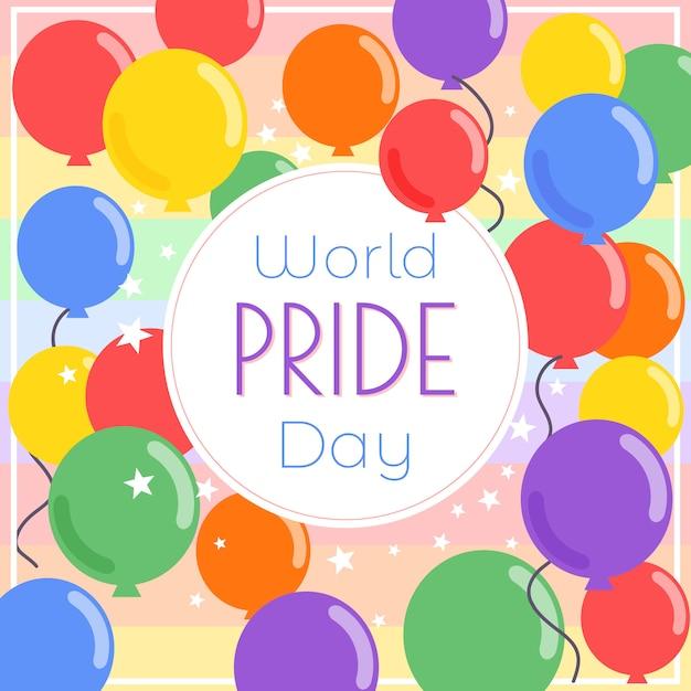 Sfondo di palloncini giorno mondo orgoglio Vettore Premium