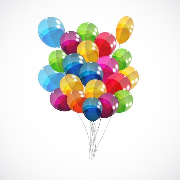 Sfondo di palloncini lucidi di colore Vettore Premium