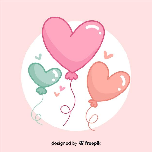 Sfondo di palloncino a forma di cuore Vettore gratuito