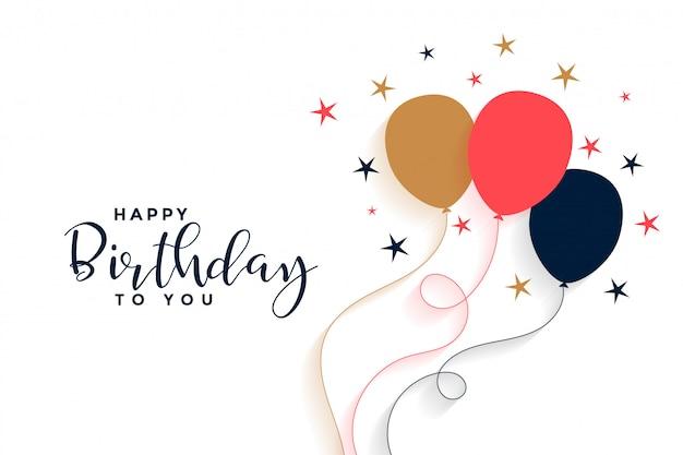 Sfondo di palloncino buon compleanno in stile piano Vettore gratuito