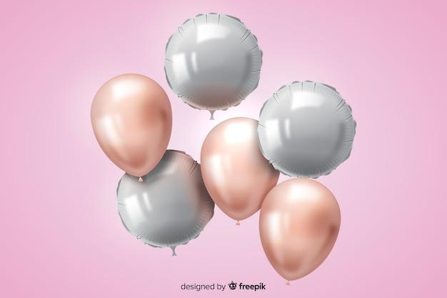 Sfondo di palloncino tridimensionale realistico lucido Vettore gratuito