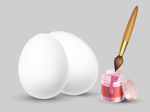 Sfondo di pasqua con realistiche uova bianche, pennello e vernice Vettore Premium