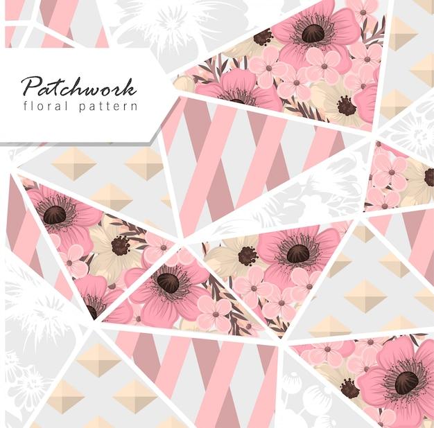 Sfondo di patchwork floreale con elementi geometrici floreali Vettore gratuito