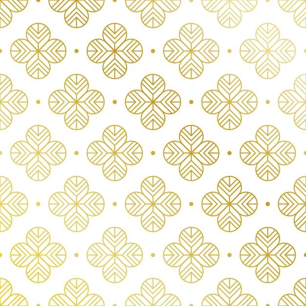 Sfondo di pattern di fiori dorati Vettore gratuito