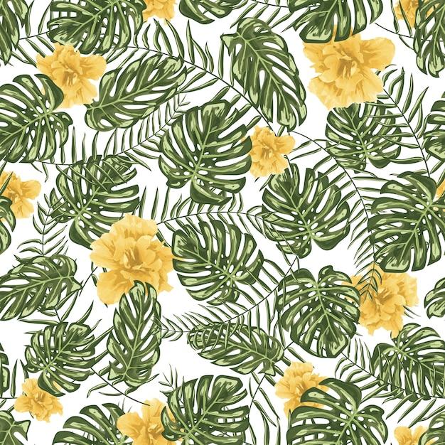 Sfondo di pattern di fiori gialli Vettore gratuito