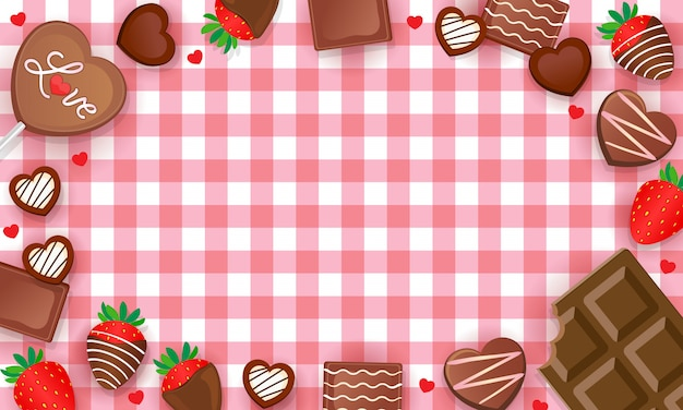 Sfondo di percalle dolci cioccolatini e fragole Vettore Premium