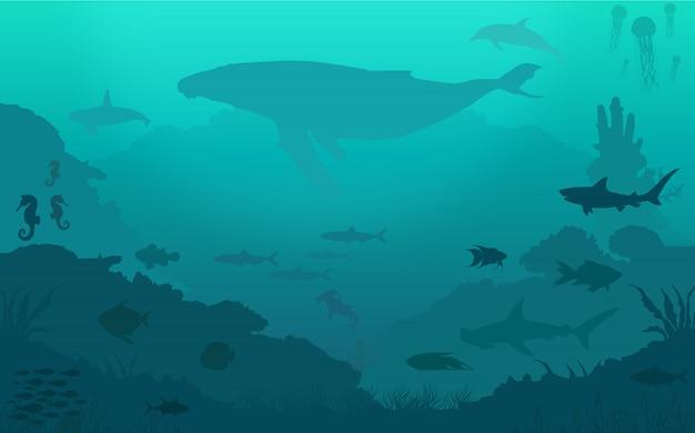 Sfondo di pesci dell'oceano Vettore Premium