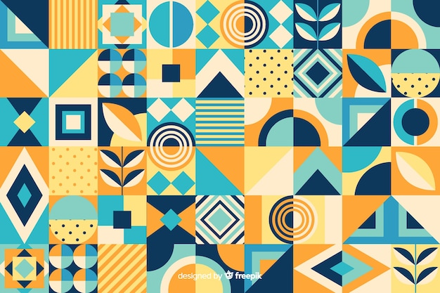 Sfondo di piastrelle mosaico geometrico piatto Vettore gratuito
