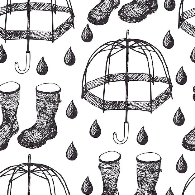 Sfondo di pioggia Vettore gratuito
