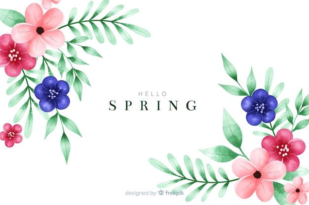 Sfondo di primavera con fiori ad acquerelli Vettore gratuito
