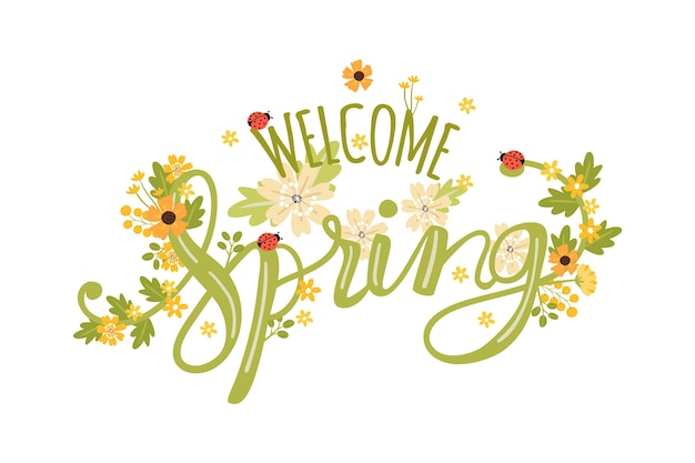 Sfondo di primavera con fiori Vettore gratuito