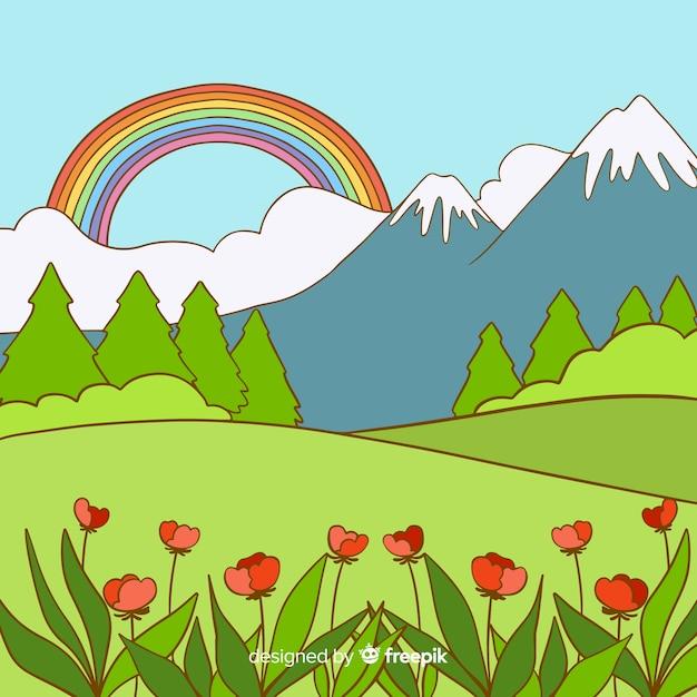 Sfondo di primavera disegnata a mano valle Vettore gratuito