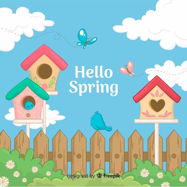 Sfondo di primavera disegnata a mano Vettore gratuito
