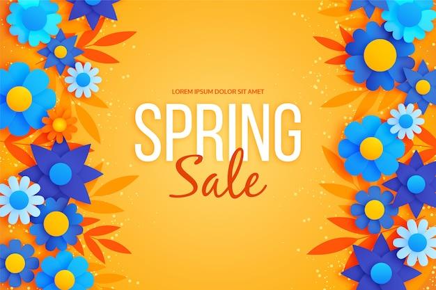 Sfondo di primavera in stile carta colorata e fiori blu Vettore gratuito