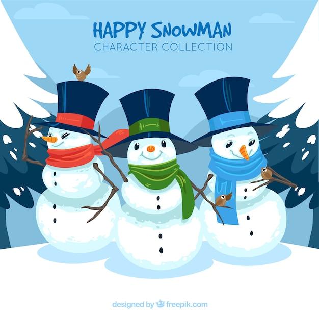 Sfondo di pupazzi di neve con cappello  b7c5e02cc74a