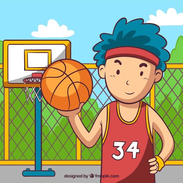 Sfondo di ragazzo che gioca a basket Vettore gratuito