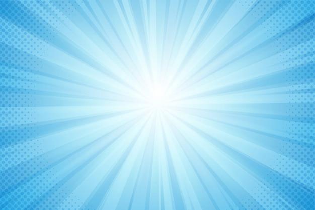 Sfondo di raggi del sole, luce blu in stile fumetto Vettore Premium