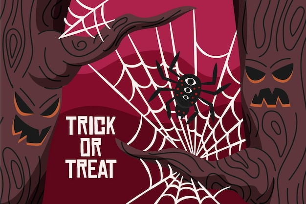 Sfondo di ragnatela di halloween Vettore gratuito