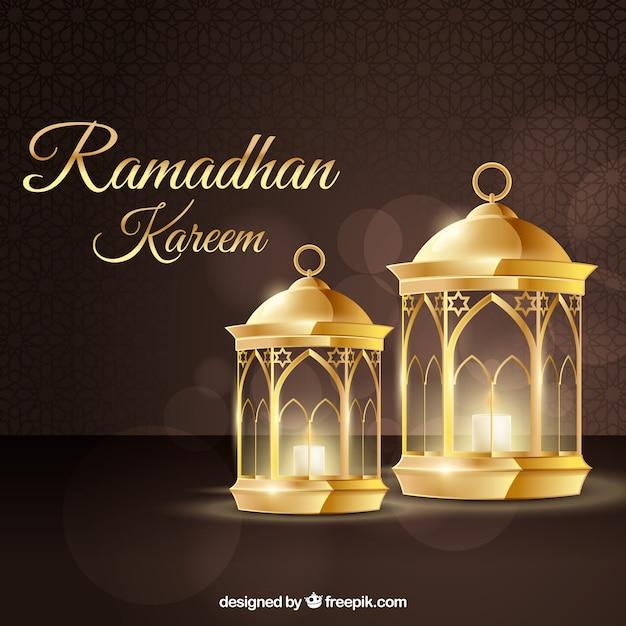 Sfondo di ramadan con lampade in stile realistico Vettore gratuito
