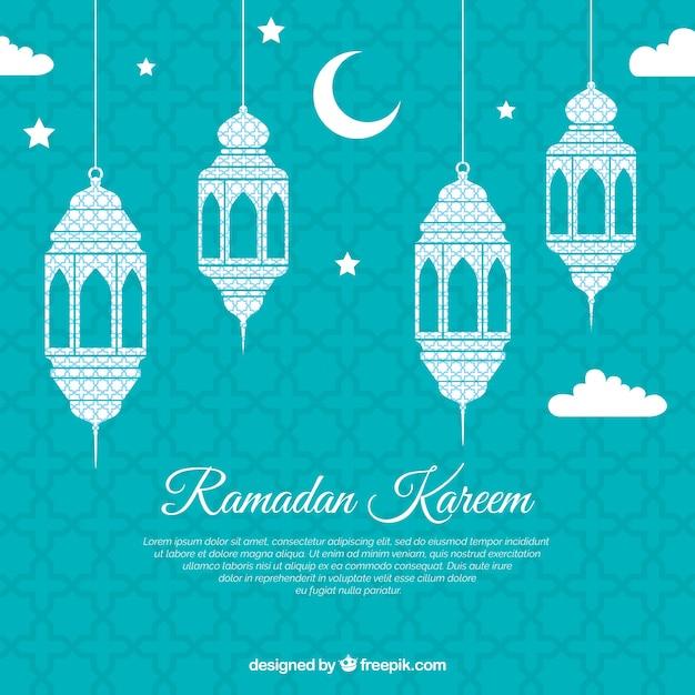 Sfondo di ramadan con lampade piatte Vettore gratuito