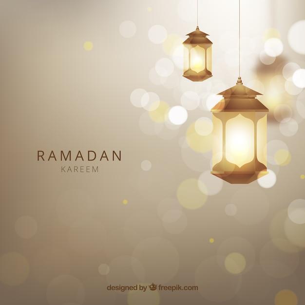 Sfondo di ramadan con lampade realistiche Vettore gratuito