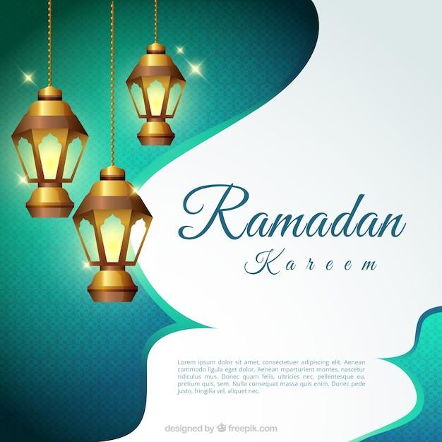 Sfondo di Ramadan Kareem con le lanterne accese Vettore gratuito