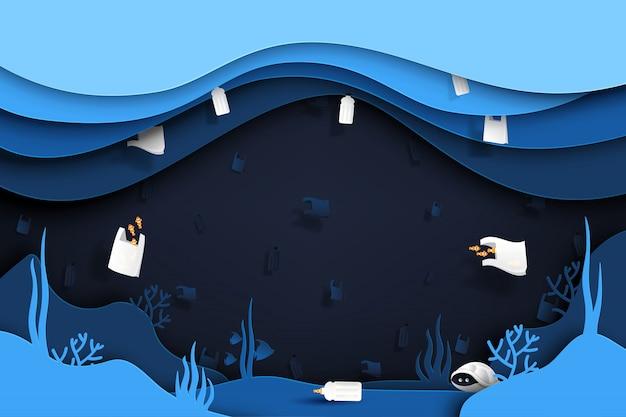 Sfondo di rifiuti e immondizia di prodotti in plastica sotto il mare. Vettore Premium