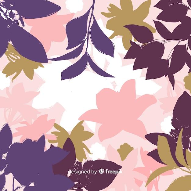 Sfondo di sagome floreali colorate Vettore gratuito